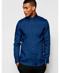 Reiss - Enges Button-Down-Hemd aus 100% Leinen - Blau
