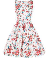Retro šaty Lady V London White Blossom Floral Tea