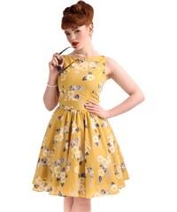 Retro šaty Lady V London Yellow Floral Tea