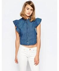 Lost Ink - Chemise en jean à manches volantées - Bleu