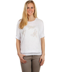 TopMode Volné dámské tričko s vážkami bílá