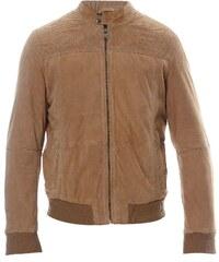 Oakwood Lederjacke aus genarbtem Leder - hellgrau