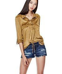 G by Guess Halenka Selda Faux-Suede Lace-Up Blouse