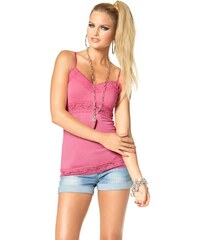 Letní topy, top na ramínka, top s krajkou MELROSE 38 pink