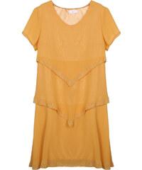 Lesara Lagen-Kleid mit halbtransparenten Ärmeln - Gelb - S