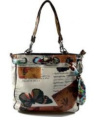 hnědo-bílá barevná kabelka na rameno Sally Marlen 2217