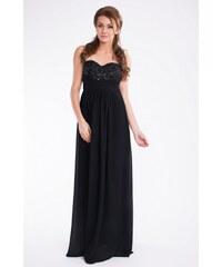 PINK BOOM Dámské společenské šaty večerní dlouhé černé