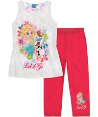 Disney Dívčí tílko s legínami Frozen - bílo-růžové