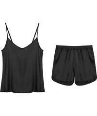 Lesara 2-teiliges Schlafanzug-Set Top & Shorts Satin - Schwarz - S