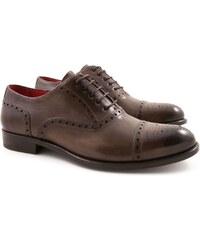 Leonardo Shoes Richelieus pour homme artisanales en cuir taupe