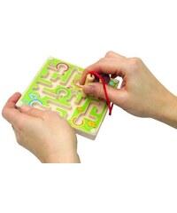 WOODY Minilabyrint s kuličkou zelený/modrý/oranžový, set 12 ks