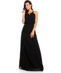 Dlouhé společenské šaty se zdobeným dekoltem - černé
