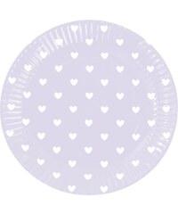 Sada papírových talířů Lavender Hearts, 8 ks