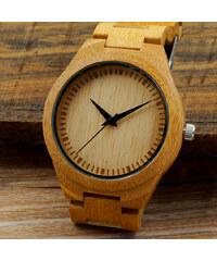 Lesara Bambus-Armbanduhr mit Edelstahl-Faltschließe