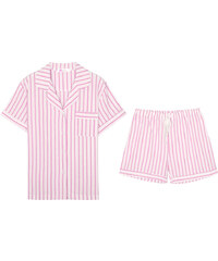 Lesara 2-teiliger Kurzer Schlafanzug gestreift - Rosa - S