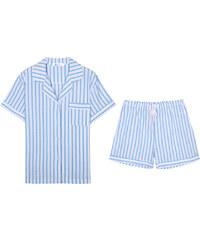 Lesara 2-teiliger Kurzer Schlafanzug gestreift - Hellblau - S
