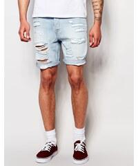 ASOS - Short slim en jean ultra déchiré - Bleu