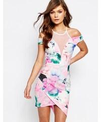 Ginger Fizz - Asymmetrisches, figurbetontes Kleid mit Print - Mehrfarbig