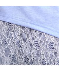 Lesara 2-in-1-Shirt mit Spitzen-Tanktop - Hellblau - S