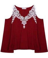 Lesara Shirt mit Schulter-Cut-Outs & Häkel-Details - Dunkelrot - S