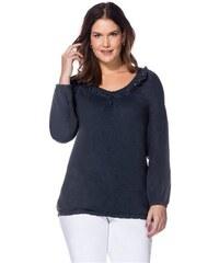SHEEGO STYLE Damen Style Tunikashirt mit Spitze und Rüschen blau 40/42,44/46,48/50