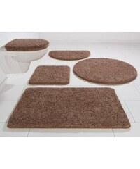 KINZLER Badematte Halbrund Chaozhou Höhe 20 mm Mikrofaser rutschhemmender Rücken braun 8 (halbrund 50x80 cm)
