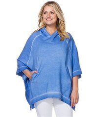 SHEEGO CASUAL Damen Casual Sweat-Poncho blau 40/42,44/46,48/50,52/54,56/58