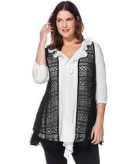 Damen Style Spitzenweste im Materialmix SHEEGO STYLE schwarz 40,42,44,46,48,50,52,54,56,58