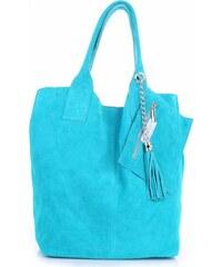 Genuine Leather Kožené kabelky Shopperbag přírodní semiš tyrkysové