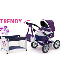 BAYER DESIGN Kočárek pro panenky Trendy fialovo-bílá 13001b 67x41x67 cm
