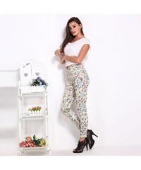 Lesara Figurbetonte Hose mit Blumen-Muster - Beige - S