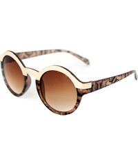 Lesara Runde Sonnenbrille mit zweifarbigem Rahmen - Braun