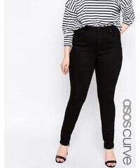ASOS CURVE - Lisbon - Jeans in Knöchellänge mit mittelhohem Bund, reines Schwarz - Schwarz