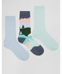 ASOS - Lot de 3 paires de chaussettes à motif paysage pastel - Multi