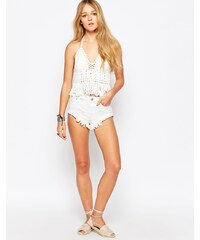 Glamorous - Short en jean à bords bruts - Blanc