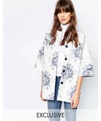 Helene Berman - Manteau style kimono à grosses fleurs - Bleu et blanc - Blanc