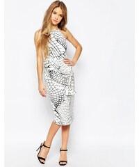 Talulah - Hochgeschlossenes Kleid mit Schnürung und Krokomuster - Weiß
