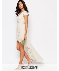 TFNC WEDDING - Robe à épaules dénudées et ourlet asymétrique - Gris