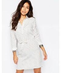 Vila - Robe chemise à pois - Blanc