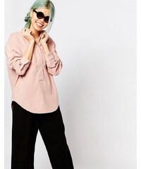 Zacro - Bluse mit plissiertem Rücken und verstecktem Knopf - Rosa