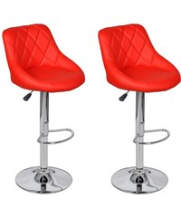 Červené nastavitelné barové židle BOSTON (2ks)