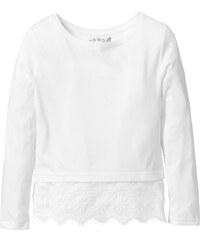 bpc bonprix collection T-shirt avec dentelle, T. 116/122-164/170 blanc manches longues enfant - bonprix