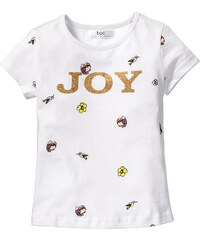 bpc bonprix collection T-shirt pailleté, T. 80/86-128/134 blanc manches courtes enfant - bonprix