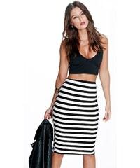 BOOHOO Černo-bílá pruhovaná sukně Harper
