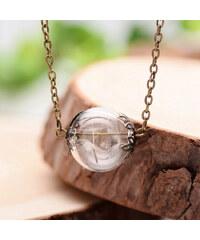 Lesara Halskette mit Glaskugel-Pusteblumen-Anhänger