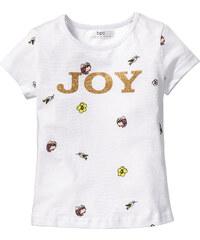 bpc bonprix collection T-Shirt mit Glitter, Gr. 80/86-128/134 kurzer Arm in weiß für Mädchen von bonprix