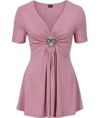 BODYFLIRT T-shirt avec broche amovible rose manches courtes femme - bonprix