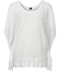 BODYFLIRT T-shirt poncho à franges blanc femme - bonprix