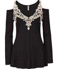 BODYFLIRT boutique Top avec empiècement crochet noir femme - bonprix