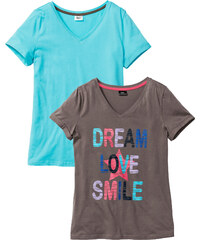 bpc bonprix collection Lot de 2 T-shirts en coton bio bleu manches courtes lingerie - bonprix